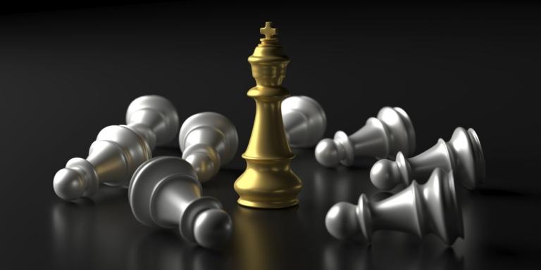 Chess king gold standing winner on black background. 3d illustration